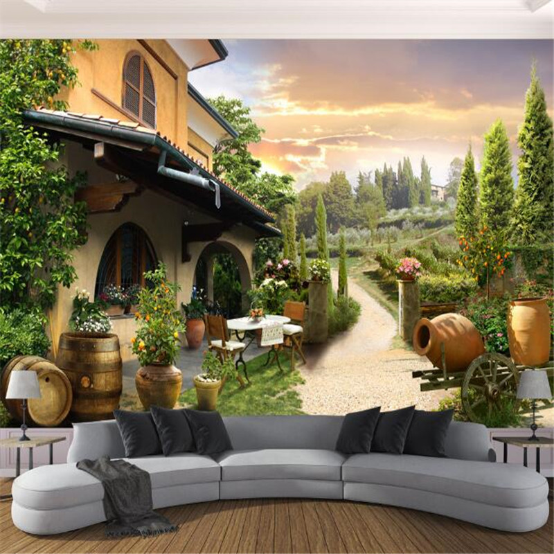 custom 3d photo mural wallpaper villa garden view 3d tv sofa backgroundquality high non-woven wall paper for bedding room beibehang lovely abc print kid bedding room wallpapers ecofriendly fantasy non woven wall paper children mural wallpaper roll