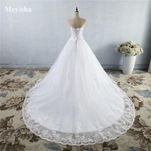 Image 3 - ZJ9059 2019 2020 Weiß Elfenbein Kleid Tüll Schatz Hochzeit Kleid Real Photo Gericht Zug für braut Kleider plus größe Hohe qualität