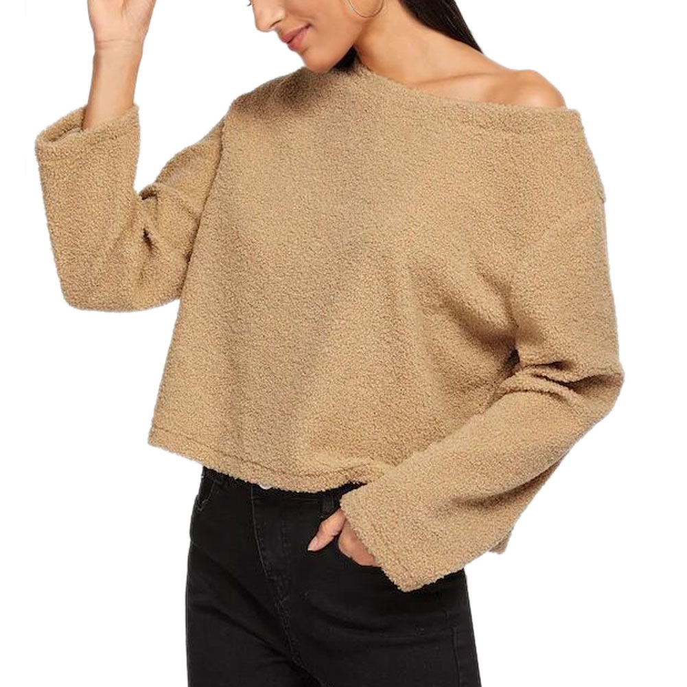 Women Lady Top Pullover Plush Thicken Long Sleeve Faux Lambswool Crop Top Loose Fashion Winter Hoodies FS99