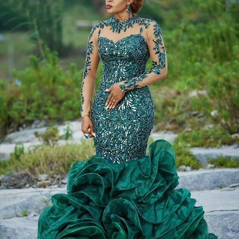 2019 Abendkleider Hunter Green Evening Gowns Organza Applique Long Formal Dress Sequins Sheer Neckline Robe De Soiree Abiye
