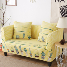 Yellow Sofa Cover Elastic Bright Color Universal Couch Succulent Plants Covers For Living Room