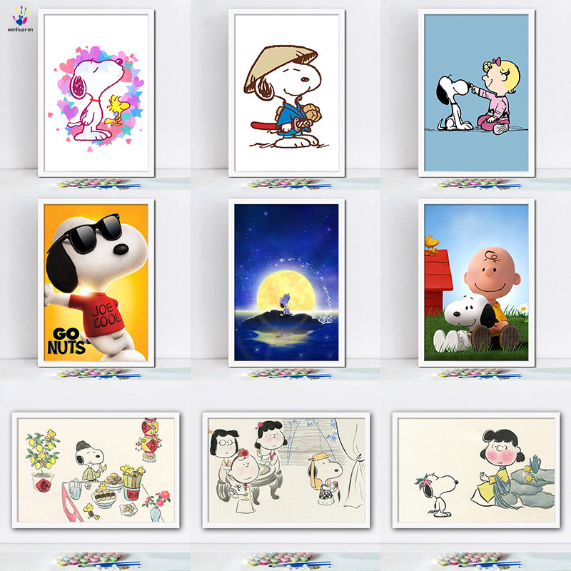 Diy paints by numbers picture painting by numbers with kits Snoopy Children's room decorative hanging pictures Cartoon animals