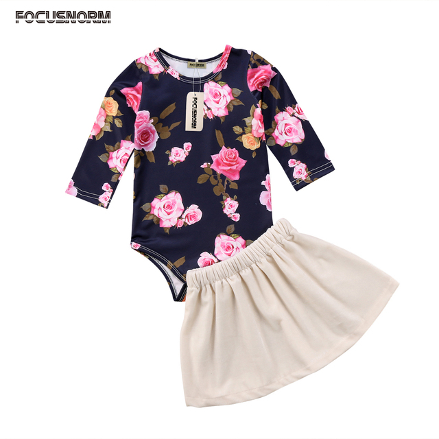 f7f3e82f1281 Fancy Girls Infant baby Clothes suit Floral print long sleeve Romper Solid  Velvet Skirts Stylish Summer Autumn Outfits Suit 2018