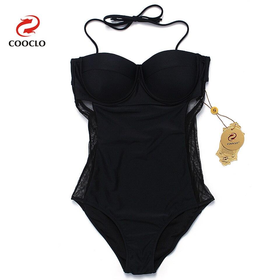 COOCLO 2019 New One Piece Swimsuit Mesh Gauze Plus Size Swimwear Women Bathing Suit Beachwear Swimming Suit Vintage Monokini