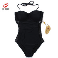 COOCLO 2019 New One Piece Swimsuit Mesh Gauze Plus Size Swimwear Women Bathing Suit Beachwear Swimming Suit Vintage Monokini