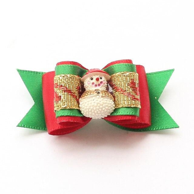 armi store handmade small accessories dog christmas bows snowman ribbon dog bow 6025024 pet hair supplies