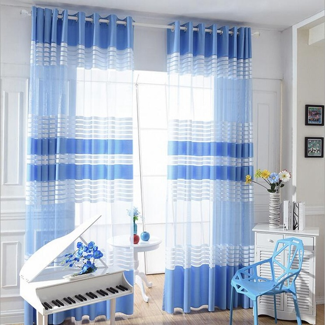 Blue White Striped Good Quality Valance Translucidus Sheer Curtain ...