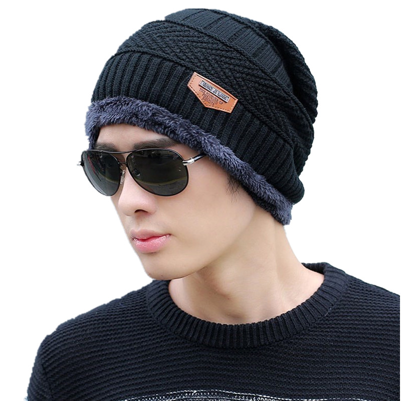 659fdd847aef22 Men's winter hat 2018 fashion knitted black hats Fall Hat Thick and warm and  Bonnet Skullies Beanie Soft Knitted Beanies Cotton