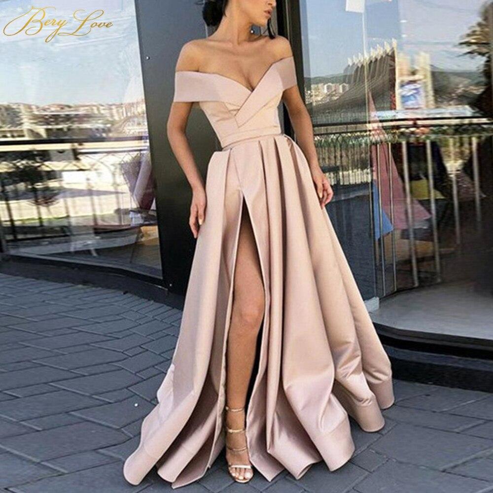 BeryLove Champagne Long Elegant Evening Dress 2019 Off Shoulder High Slit Satin Formal Party Dress Crisscross Neck Prom Dress