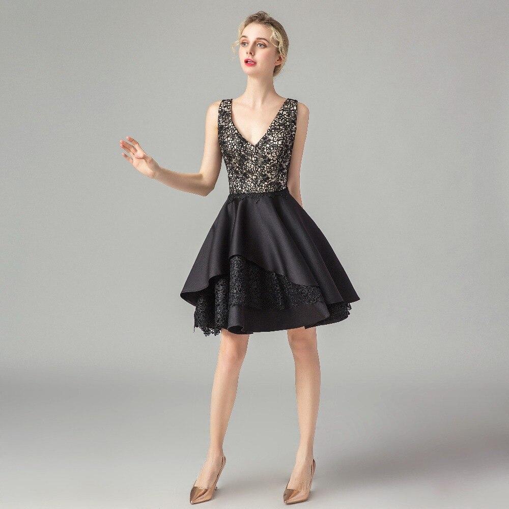 ruthshen   Cocktail     Dresses   V Neck Black Satin Lace Patchwork Tee Length Midi Short   Dress   Party Vestidos Verano Robe de Soiree