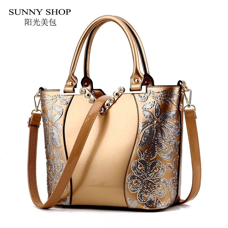 ФОТО SUNNY SHOP Christmas New Women Bag Designer Handbags High Quality Cystal Flower Patent Leather Evening Bag