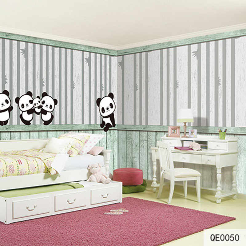 طباعة مخصصة لتقوم بها بنفسك أغطية الجدران والنسيج للجدران سلس القماش الجداريات مات الحرير للأطفال غرفة الباندا لطيف المنزل