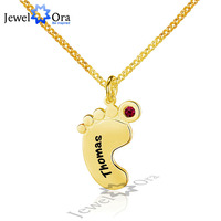 Unique DIY Birthstone Name Engrave Personalize 925 Sterling Silver Feet Necklace Best Christmas Gift JewelOra NE101611