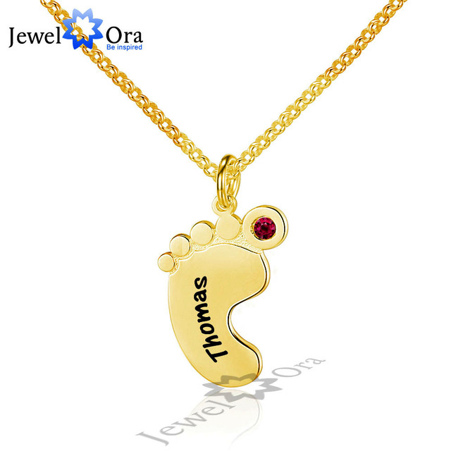 Unique DIY Birthstone & Name Engrave Personalize 925 Sterling Silver Feet Necklace Best Christmas Gift (JewelOra NE101611)