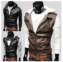 2015 Korean Quality Men Winter Jacket Motorcycle Slim Fit Collar Sweater PU Leather Jacket Men's Casual Coat Zipper Outwear