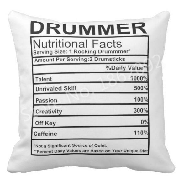 Funny Novelty Drummer Nutrition Facts Label Percussion Drum Throw Pillow Case Cushion Cover Cool Creative Drummer Gifts Boy Teen