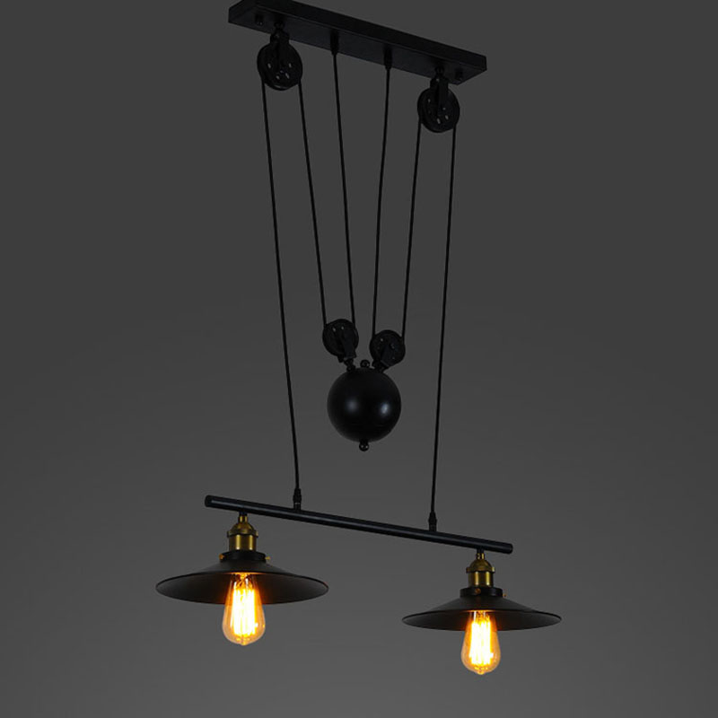 Loft Black Iron Pulley Pendant Light Without Mirror Home