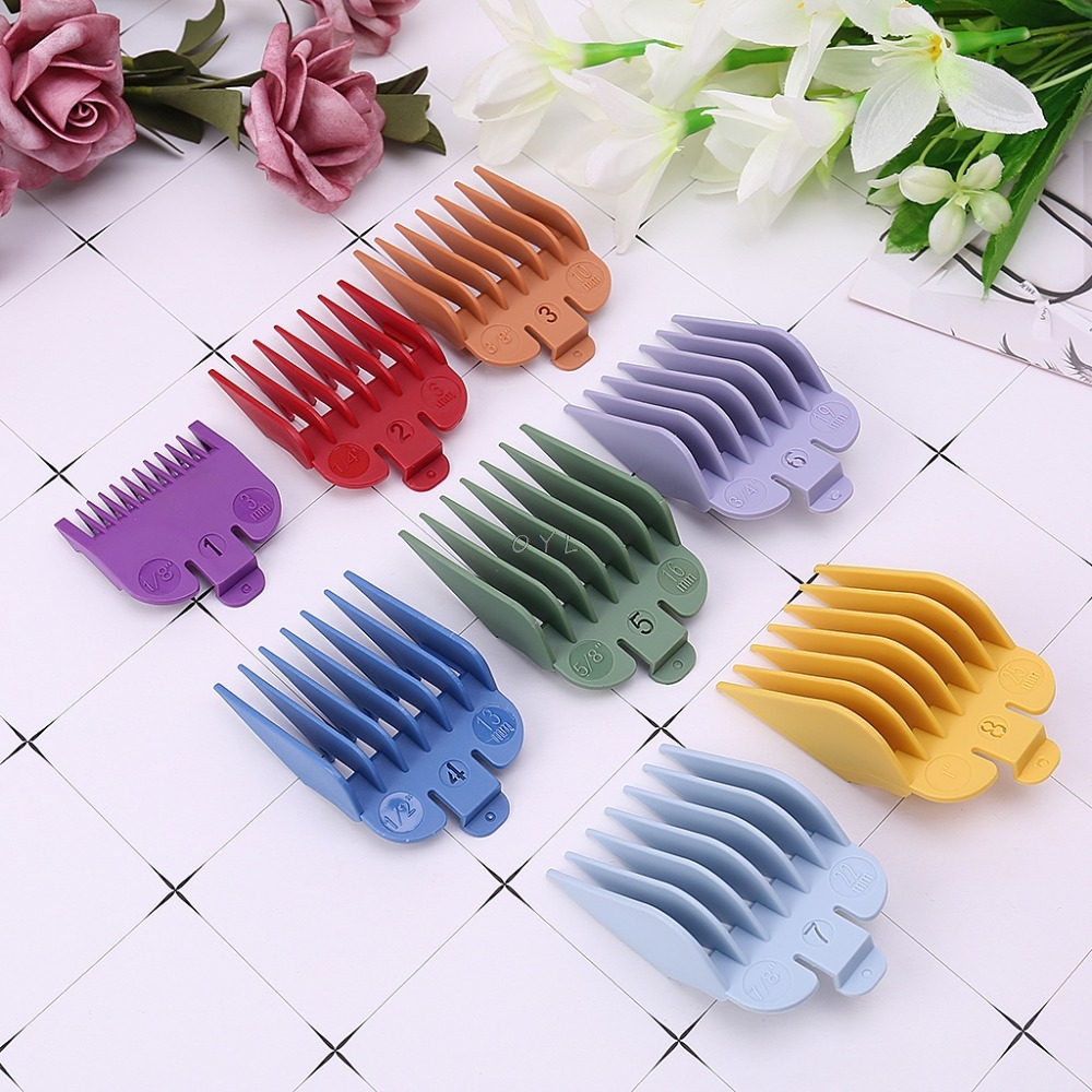 8Pcs/Set Universal Hair Clipper Limit Comb Guide Attachment Size 3/6/10/13/16/19/22/25mm Barber Replacement