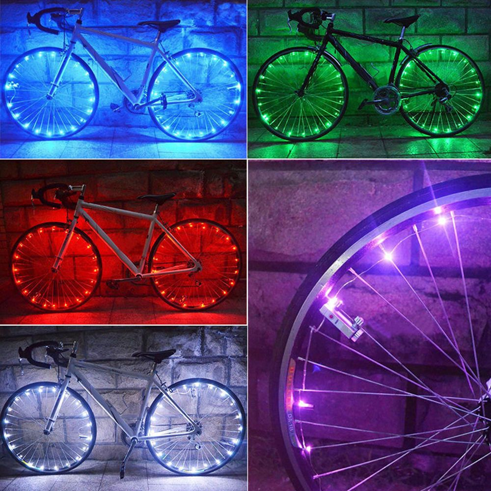 20 LED Bicycle Bike Rim Lights LED Wheel Spoke Light Cycling String Strip Lamp