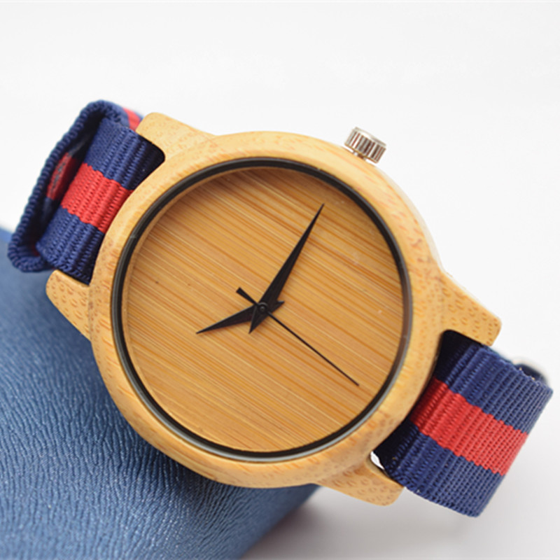 Fashion Bamboo Wooden Watch For Men And Women For Female's Gifts With Nylon  Watchband  In Box newest color of bamboo wood watch for women fashion tiangle wooden wristwatch for gifts quartz clock in a box