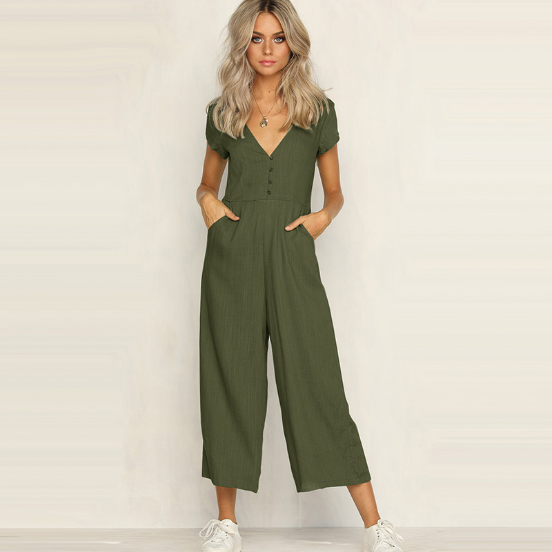 Women's Clothing Provided Elsvios Casual Button Pocket Beach Playsuit Women Rompers Summer Short Sleeve Solid Overalls Loose Wide Leg Sexy Jumpsuit Shorts Products Hot Sale