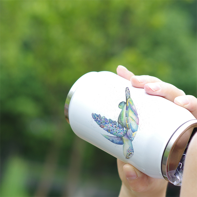 Turtle Print Stainless Steel Portable Water Bottle 3