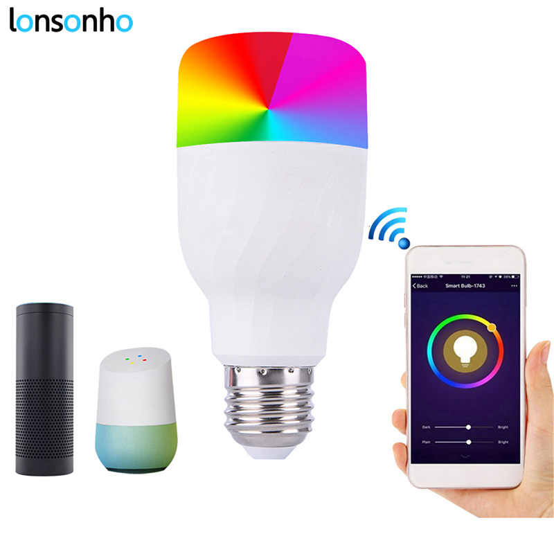 LonSonHo wifi bulb led light smart lamp E27 Dimmable RGB Colorful remote control smart home automation modules google home alexa smart bulb wifi e27 rgb dimmable led lamp phone app remote control voice control works with amazon alexa and google home