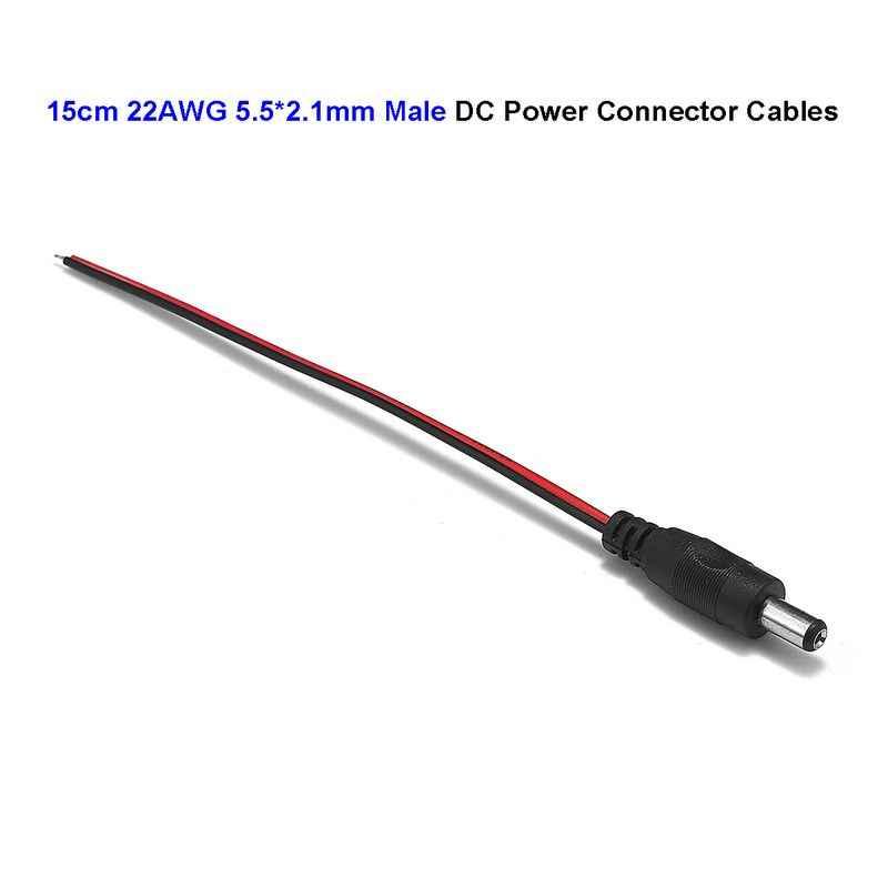 5.5x2.1mm Man DC 5 V 12 V Plug Jack Connector Power Verlengkabel Draden Adapter Voor 5050 3528 LED Strip Controller CCTV