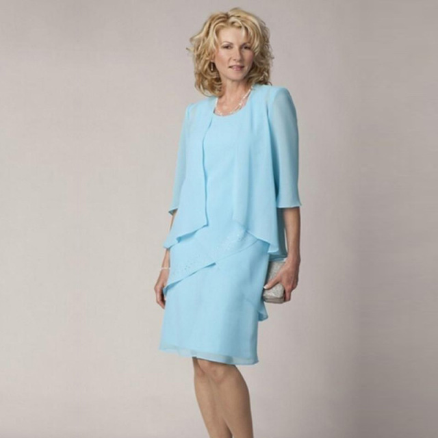 2015 Simple Sky Blue Mother Of The Bride Short Dresses With Jackets