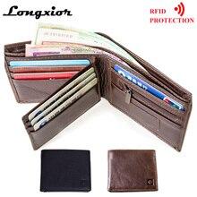 MRF1 rfid кошелек с блокировкой, мужской кошелек из натуральной кожи, защита от кражи, кошелек RFID, мужской кошелек с кредитной картой, винтажный бумажник