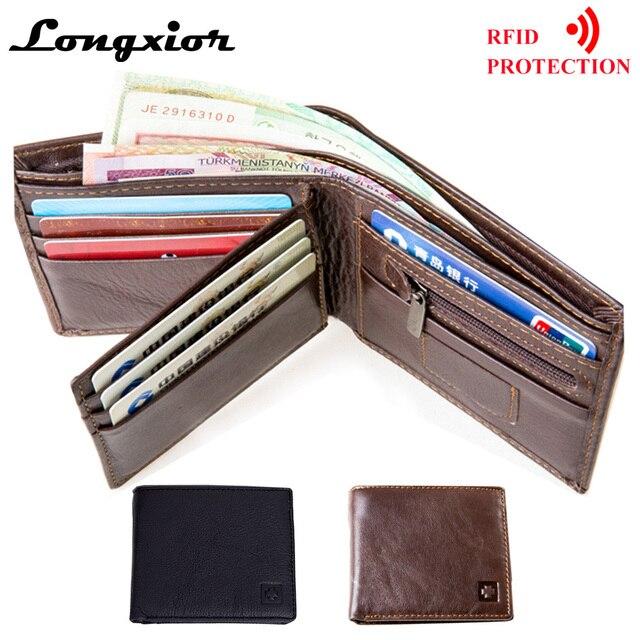 MRF1 تتفاعل حجب محفظة الرجال محفظة جلدية حقيقية الهوية سرقة حماية محفظة بشريحة RFID محفظة الرجال بطاقة الائتمان محفظة Vintage