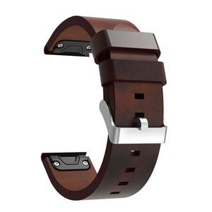 Image 4 - 22 مللي متر جلد طبيعي فاخر حزام ساعة اليد ل Garmin Fenix 5 سريعة صالح المشبك معصمه سوار ل Fenix 5 زائد/Quatix 5 حزام