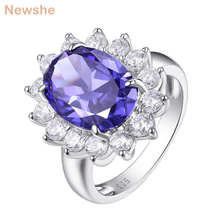 Newshe 6 Carats bague de fiançailles bleu ovale AAA CZ 925 en argent Sterling Cocktail anneaux cadeau bijoux pour femmes taille 5 12