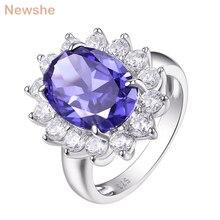 Newshe 6 karat nişan yüzüğü mavi Oval AAA CZ 925 ayar gümüş kokteyl yüzük hediye takı kadın boyutu 5 12