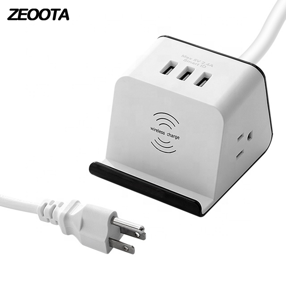 Beste Koop Desktop Power Strip 2 Ac Us Outlet Plug Stopcontacten Met 3 Usb Draadloze Oplader Telefoon Houder Overspanningsbeveiliging 1 5 M Verlengsnoer Goedkoop Kooptaqy