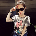 New Summer Womens T Shirts Short Sleeve Striped Mouse Print Tops Tees Tshirt Casual for Women Plus Size
