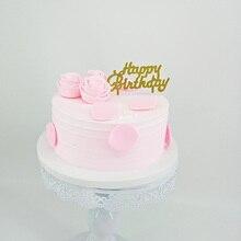 Golden Plastic Transparent Bottom Creative Art Topper Cake Decoration Happy Birthday 100pcs Package Mail