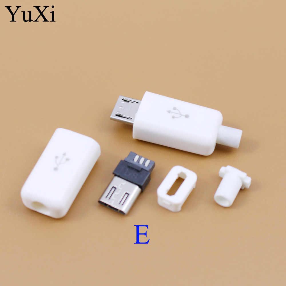 玉渓 YT2153B マイクロ USB 4/5Pin オスコネクタプラグ黒/白溶接データ OTG ラインインタフェース diy データケーブルアクセサリー