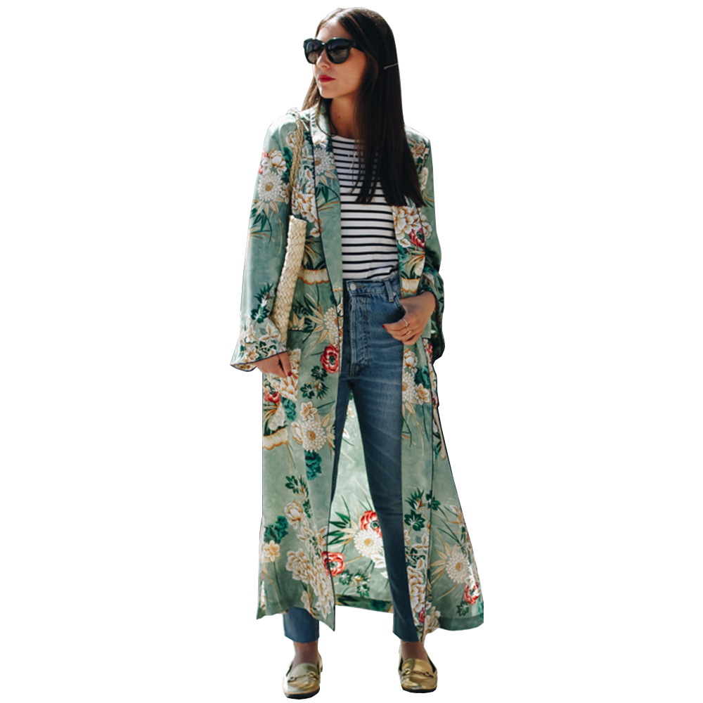 Women Ethnic Flower Print   Blouse     Shirt   Long Kimono Women Cardigan Elegent Long Sleeve Summer   Blouse   Blusas chemise femme Tops