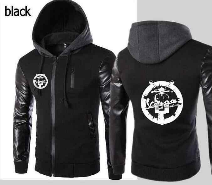 Vespa винтажная мотоциклетная кожаная толстовка с рукавом мужская повседневная Уличная рубашка для похудения с капюшоном, спортивная куртка с капюшоном
