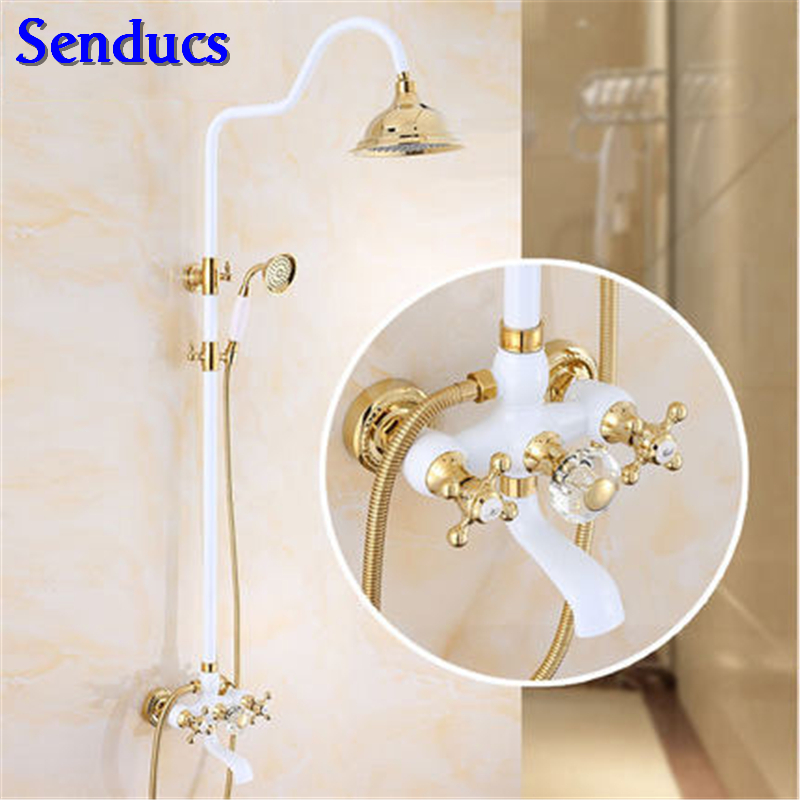 Senducs Luxury White Gold Bathroom Shower Set Dual Handle Bathroom White Gold Shower Faucet Promotion White Shower SystemSenducs Luxury White Gold Bathroom Shower Set Dual Handle Bathroom White Gold Shower Faucet Promotion White Shower System