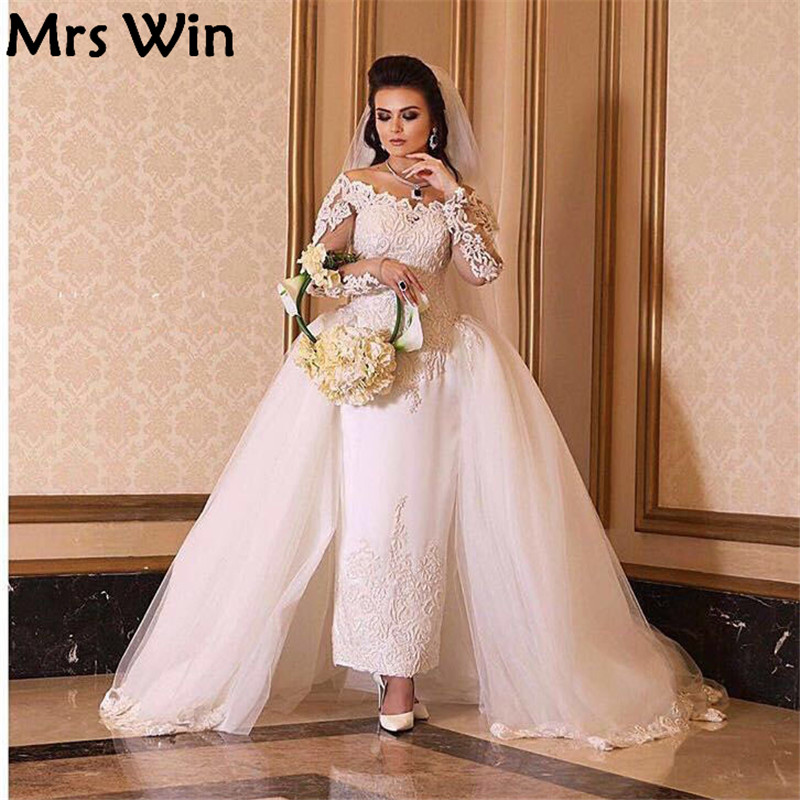 2016 bridal gown off the shoulder long sleeve ankle length for Ankle length wedding dress with sleeves