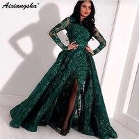 Зеленый длинное вечернее платье Кружева из бисера разрез Дубай Кафтан Саудовская Арабский элегантное Деловое платье одежда с длинным рука