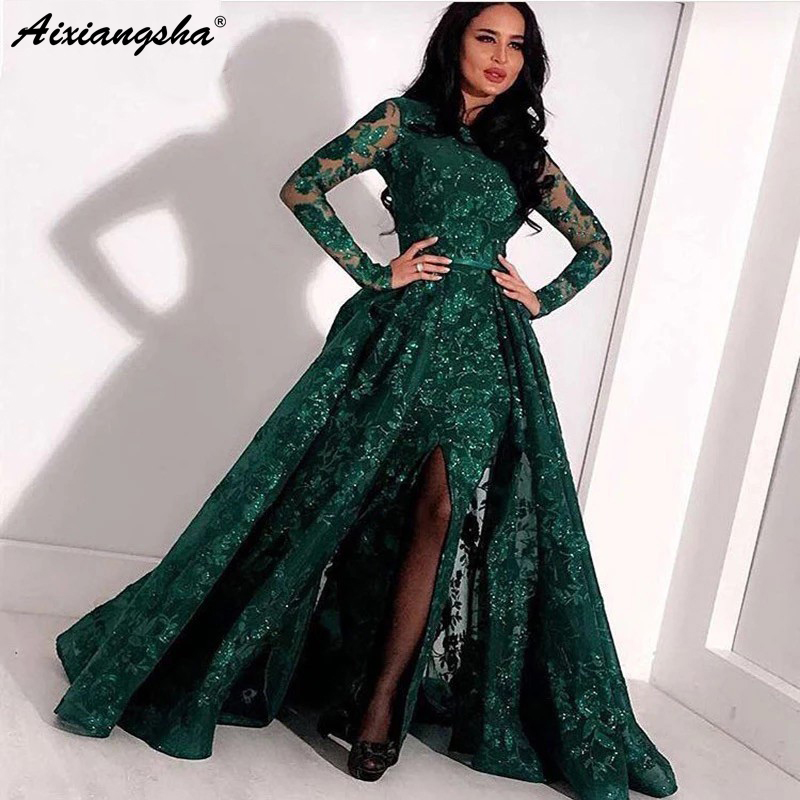 Green Long   Evening   Gown Lace Beaded Slit Dubai Kaftan Saudi Arabic Elegant Formal   Dress   Long Sleeves Muslim   Evening     Dresses   2019