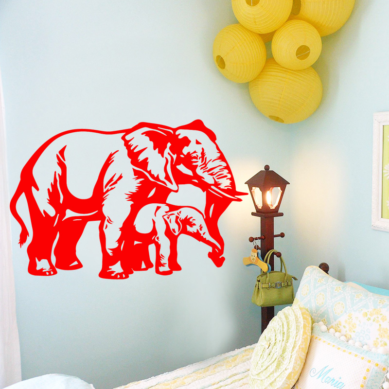 Elephant Animal Design Wall Sticker for Kids Room Decoration Accessories Vinyl Waterproof Wall Art Decals Self Adhesive Poster
