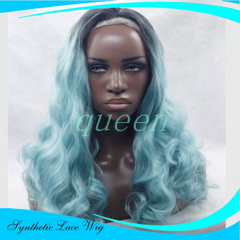 Long Dark Blue Wig Three Tone Natural Black Ombre Blue To Blonde Tips  Synthetic Lace Front Wig Glueless Heat Resistant Women Wig 72b3f89f70