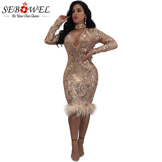 Sebowel Winter Elegant Gold Sequined Dress Women Y Bodycon Dresses Long Sleeve Lady Evening Party Sequin