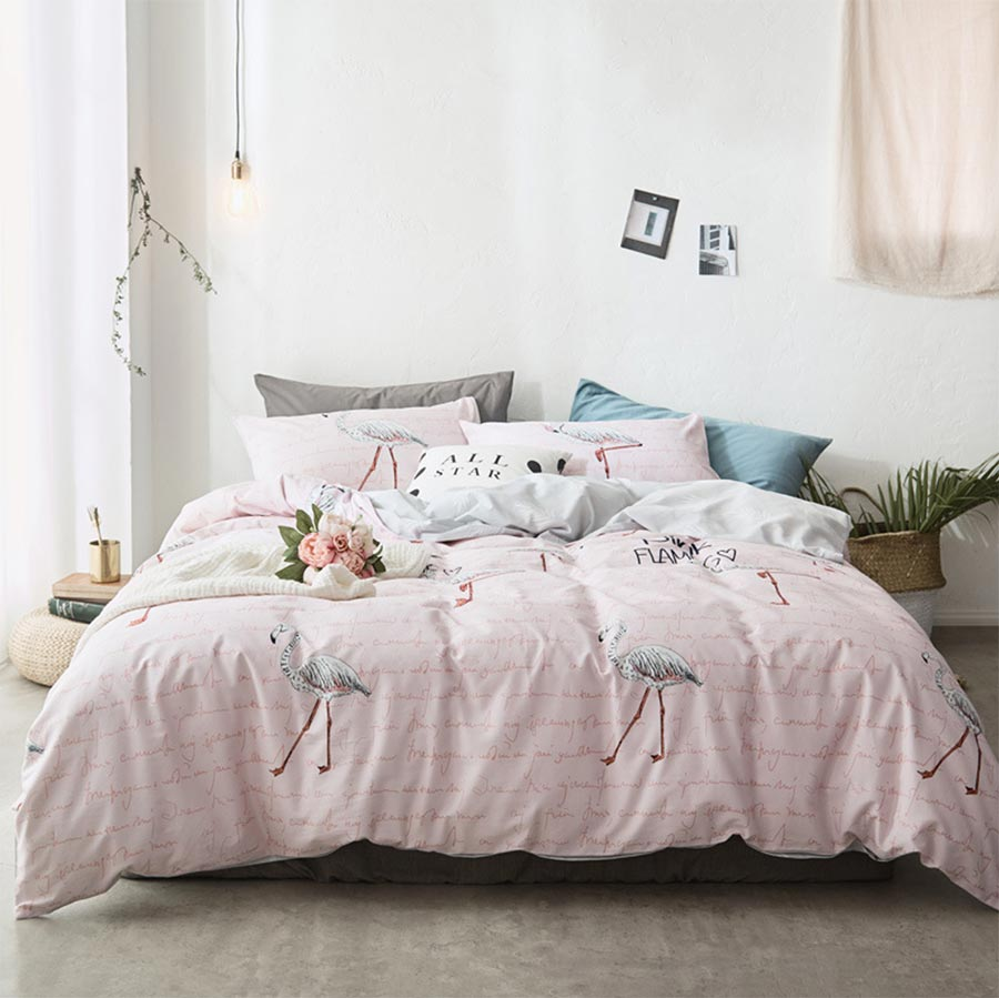 Cartoon pink blue flamingo bedding set cotton twin full queen king single double home textile bed