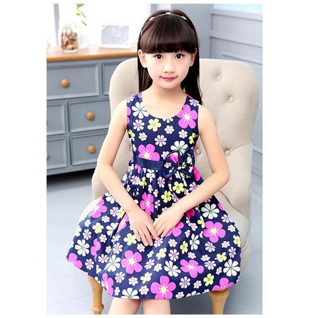 2018 Flower Girls Dress Sleeveless Bow Kids Dresses For Girls 4 5 6 7 8 9 10 11 12 Year Summer Children Princess Clothing  by Mxtoppy