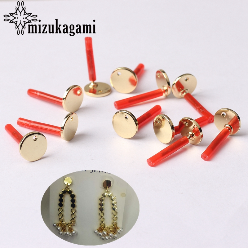 Zinc Alloy Golden Flat Round Base Earrings Connectors 8mm 10pcs/lot For DIY Earrings Jewelry Making Finding Accessories
